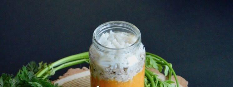 Papilla de zanahoria con arroz y pescado