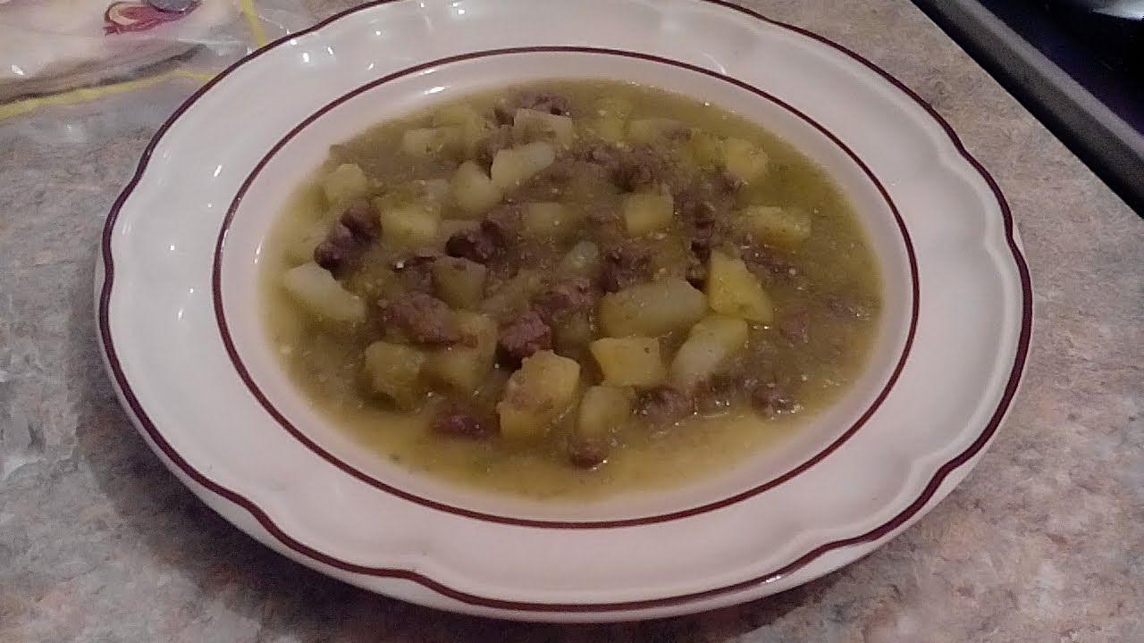 Bistec con papas en salsa verde