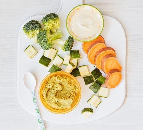 Papilla de pollo con camote y verduras