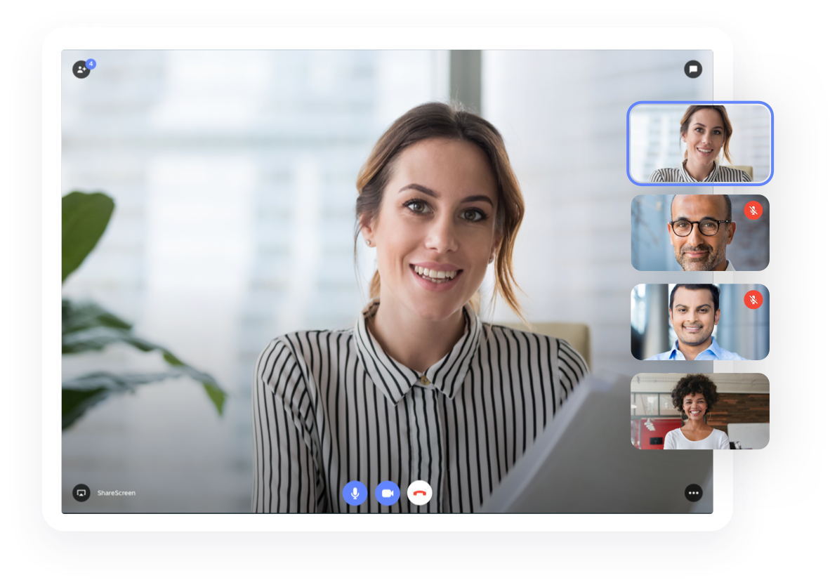 Woman on Teleport video call staying sociable working Anywhere
