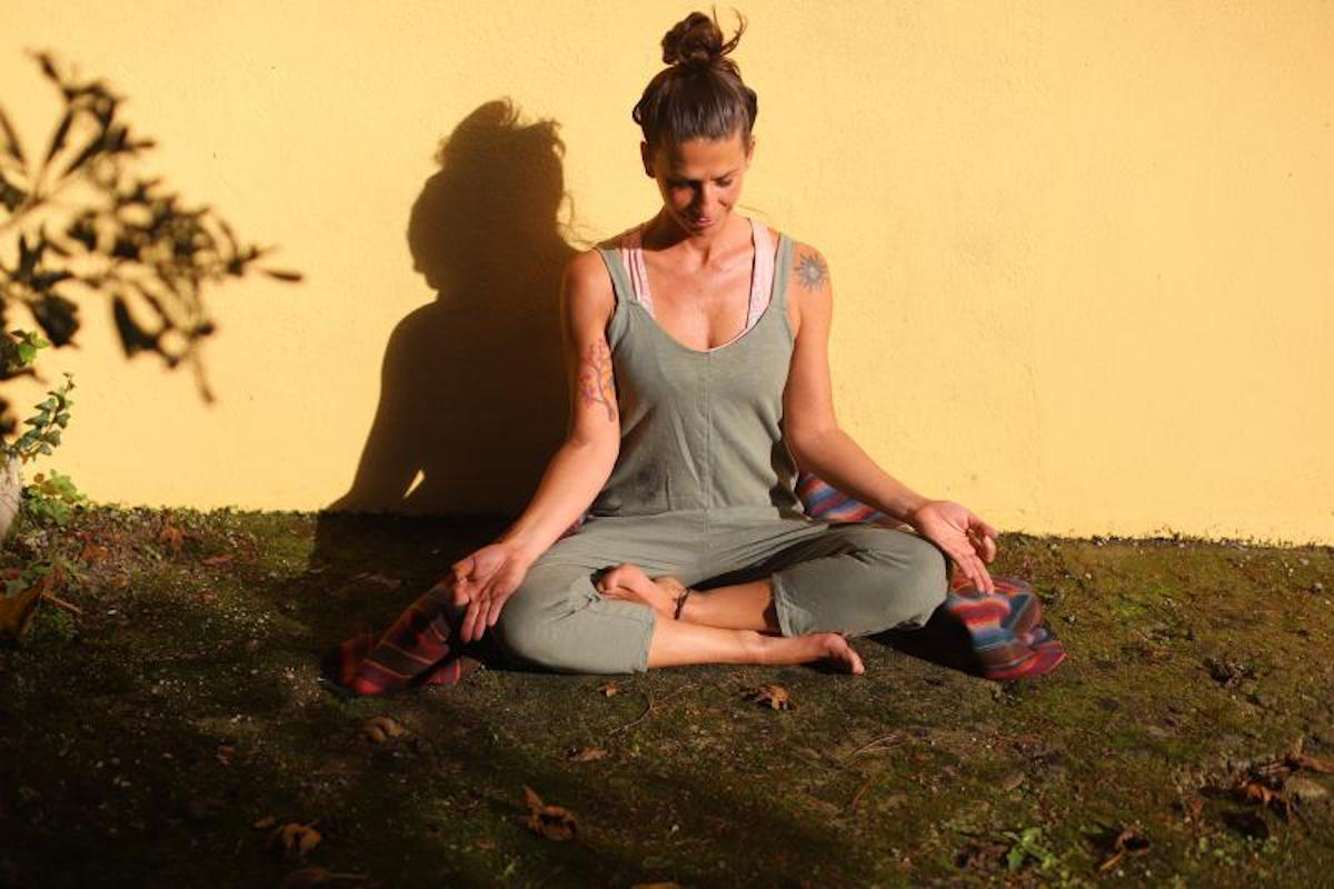 Stefania Chiorboli practicing yoga working from home