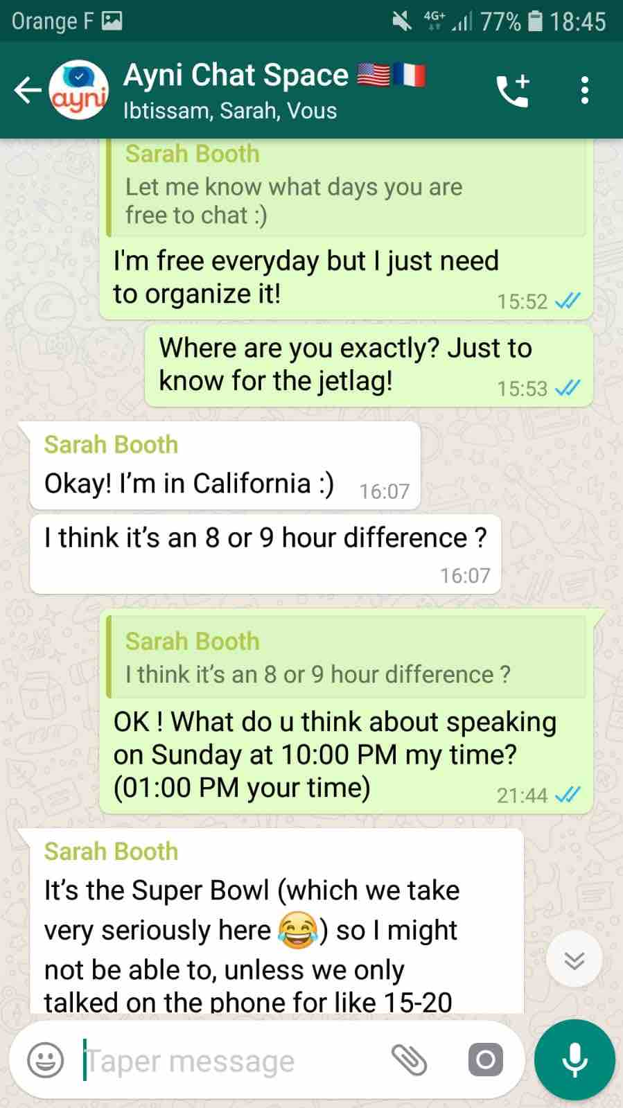 conversation whatsapp anglais