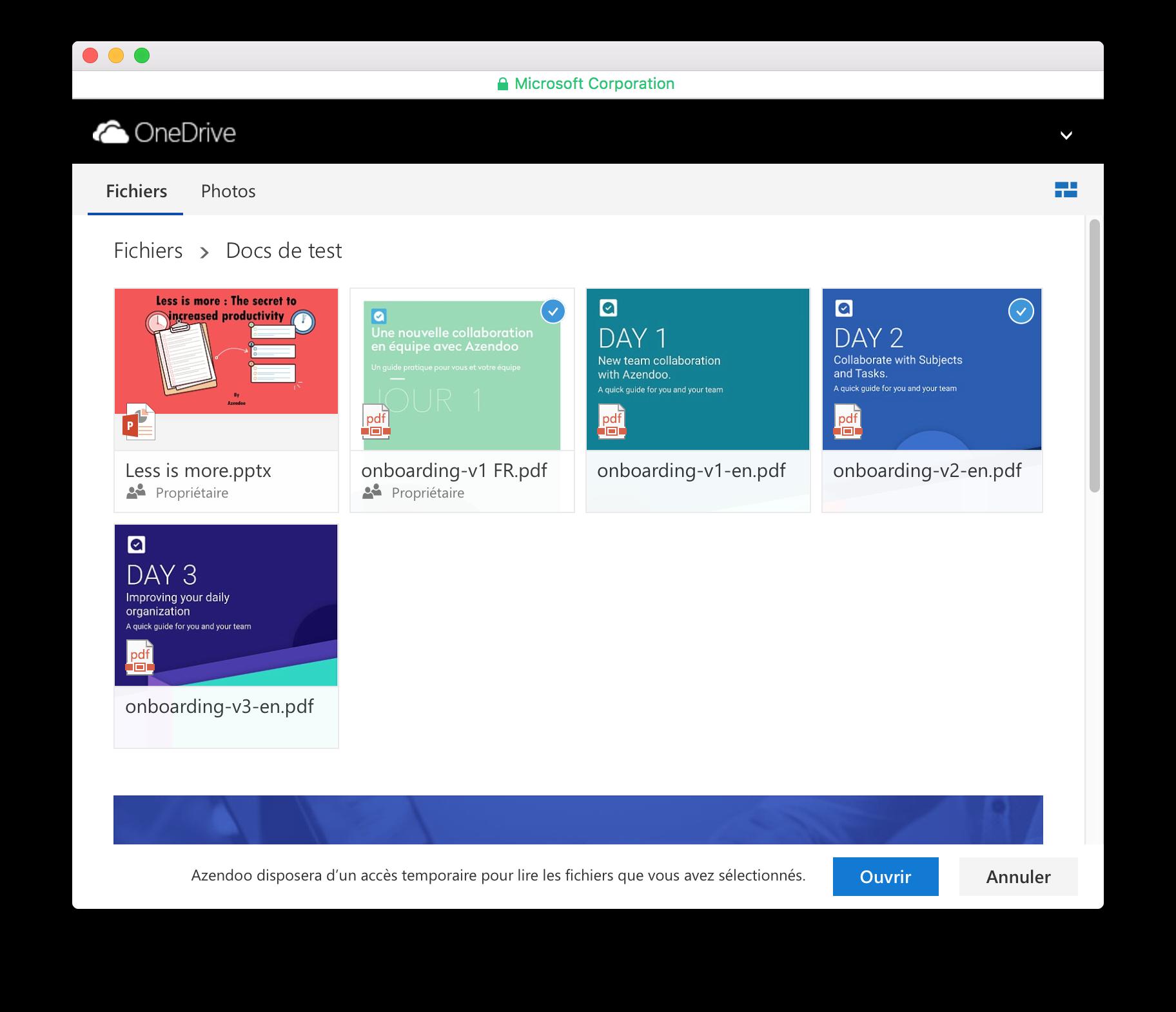 Fenêtre de partage OneDrive