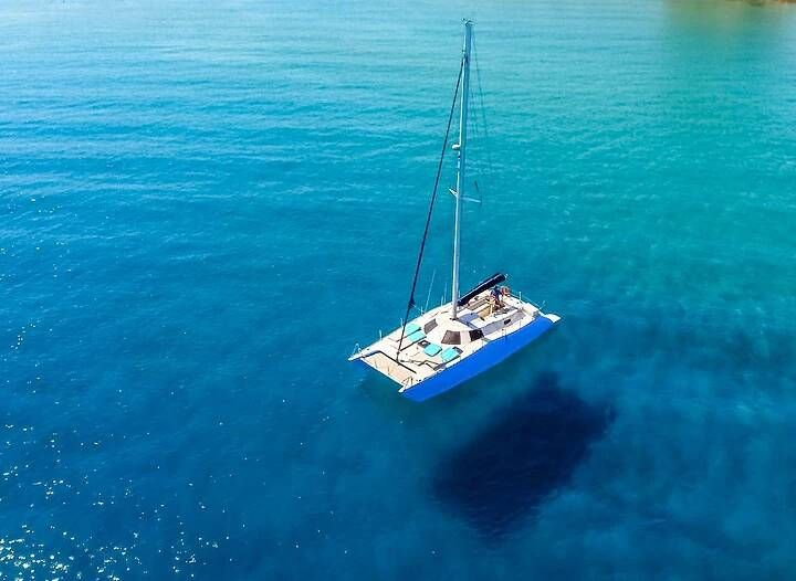 Catamaran in the crystal clear waters of Rhodes
