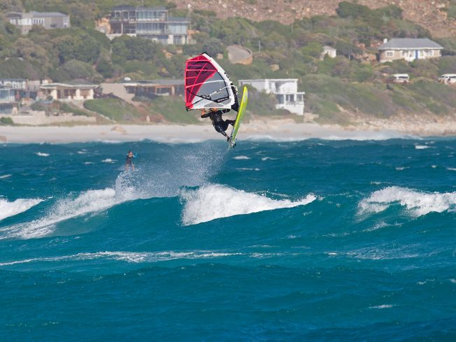 Tony Frey windsurfing and getting air on a Goya board