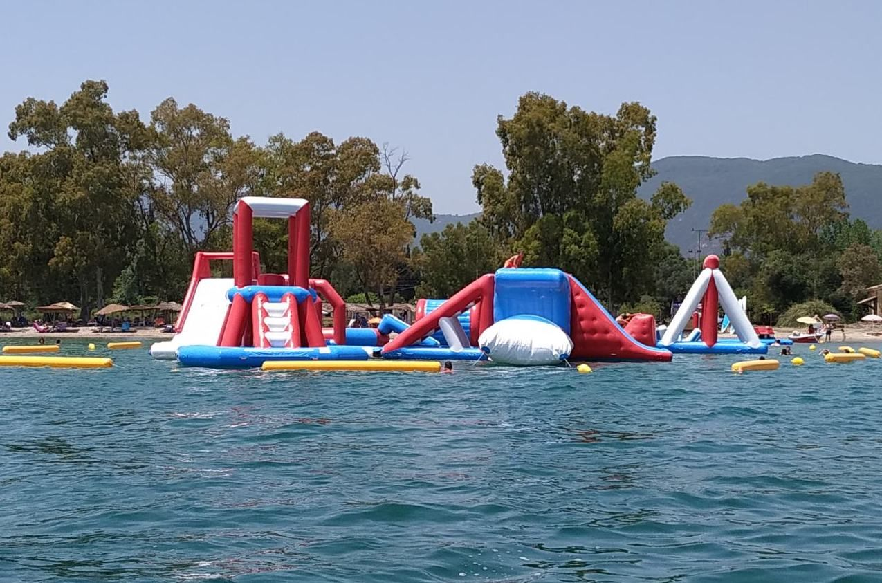 View of inflatable Water Park in the sea in Dassia, Corfu
