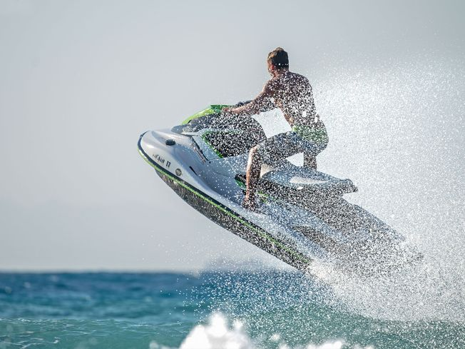 Man getting air on jetski