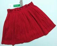 Красная блестящая юбка в складку Benetton р. 2 года