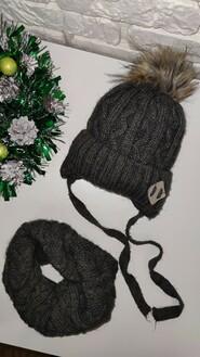Детская зимняя шапка и хомут для мальчика