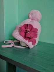 Шапка теплая зима девочке 1.5-3.5 года обьем 50 см Nikola Польша
