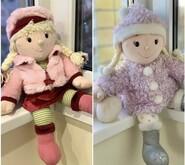 Кукла текстильная 50 см. Tesco. В розовой шубке.