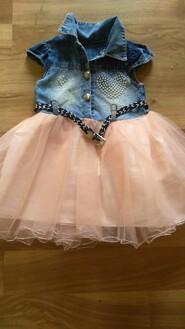 Сукня джинс+фатін