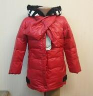 Пуховик для девочки с шарфом красный