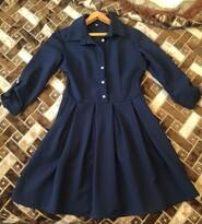 Тёмное синее платье на молнии
