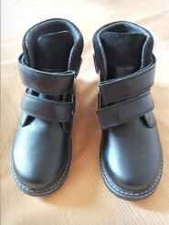 Чорні шкіряні зимові черевики