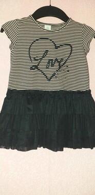 Платье чёрное с коричневой полоской LINDEX KIDS