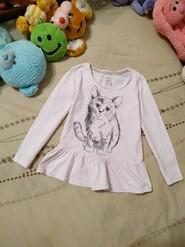 Next  блузочка. Милый котик. На 3_4 годика. Трикотаж