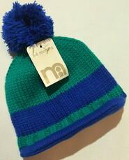Сине-зеленая вязаная шапка Mothercare р. 3-6 мес