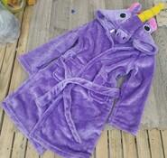 Халат детский единорог фиолетовый пони с рогом и гривой