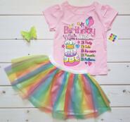 Комплект на День рождения футболка и фатиновая юбка Туту 4Т