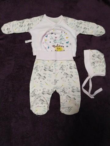 Комплект для новорожденного (распашонка, ползунки и шапочка)