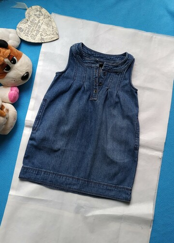Джинсовое платье сарафан на 1.5_2 годика. Есть карманы с боков