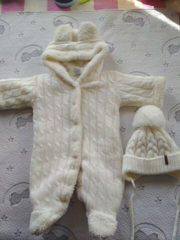 Зимовий в'язаний комбінезон + шапочка