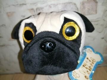 Мягкая игрушка собачка Мопс глазастик 22 см