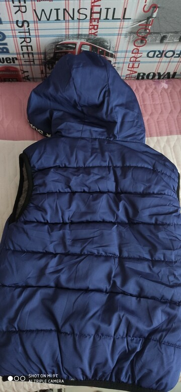 Синяя желетка с надписями, на меховой подкладке
