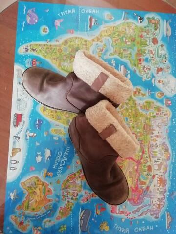 Ботинки утепленные кожа