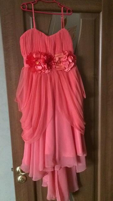 Нарядное розовое платье с шлейфом