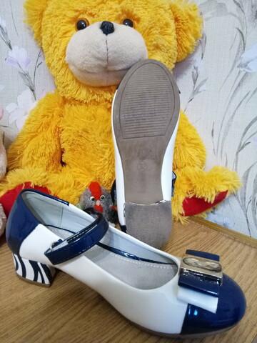 туфлі комбінованого складу, біло-синього кольору