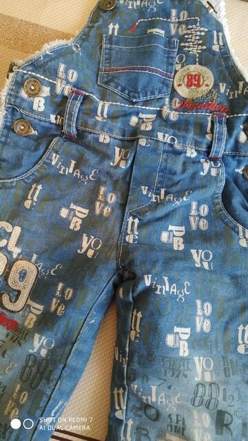 Теплый джинсовый комбинезон на травке