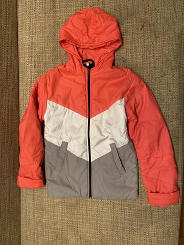 Куртка демисезонная коралл/белый/кофе