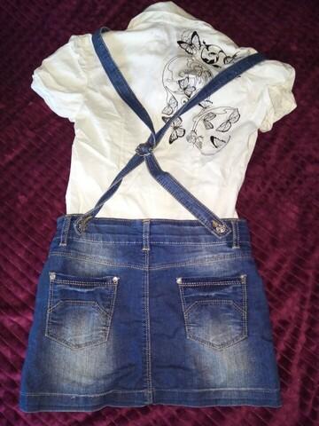 Джинсовый комбенизон(юбка) +белая стильная блузочка