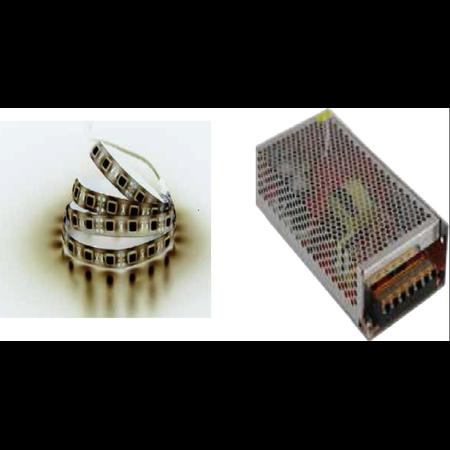 Pachet 5ml banda led Alb rece 10w + sursa de alimentare 12VDC