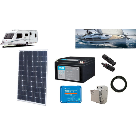 Camper kit fotovoltaic 255W - ideal pentru rulote, barci etc - cu acumulator 90Ah