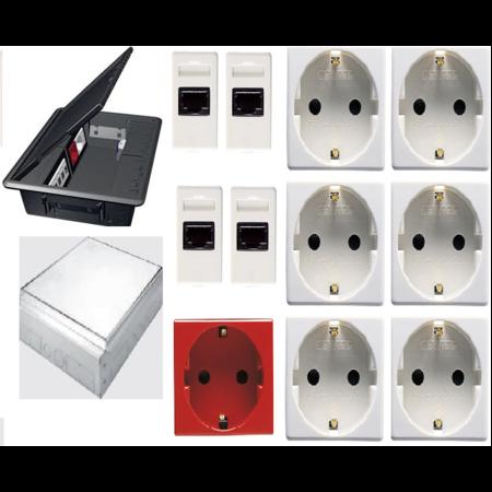Pachet doza pardoseala 20 module echipata cu 2 prize date + 6 schuko albe + 1 schuko rosie