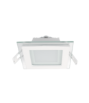 LED PANEL DE STICLA PATRAT 6W 2700K-3000K ALB 97MM/97MM +KIT EMERGENTA