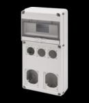 Organizator de santier Q-DIN 10 MODULE - 3 FLANSE-OUTLET 50x50 SOCKET mm + 2 FLANSE IEC 16/32 A - IP65