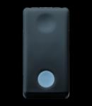 Intrerupator cu revenire 1P 250V ac - NO 10A - BACKLIT 12/24V - WITH REPLACEABLE NEUTRAL LENS - 1 MODULE - SYSTEM BLACK
