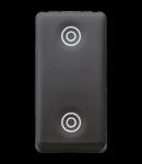 Intrerupator cu revenire 1P 250V ac - NO+NO 10A - WITH INTERLOCK - SYMBOL DOUBLE CIRCLES - 1 MODULE - SYSTEM BLACK