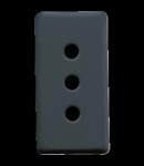 ITALIAN STANDARD Priza 250V ac - 2P+E 10A - P11 - 1 MODULE - SYSTEM BLACK
