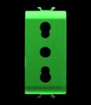 ITALIAN STANDARD Priza 250V ac - FOR DEDICATED LINES - 2P+E 16A DUAL AMPERAGE - P11-P17 - 1 MODULE - GREEN - CHORUS