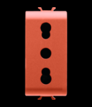 ITALIAN STANDARD Priza 250V ac - FOR DEDICATED LINES - 2P+E 16A DUAL AMPERAGE - P11-P17 - 1 MODULE - ORANGE - CHORUS