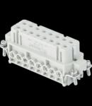 Insert pentru conector Mama - 66X16 - 16P + E 16A 250V / 4kV / 3 - ȘURUB CONNECTION - CU PLATE - GRI