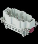 Conector Tata - 57X27 - 3P + 2P (AUX) + E 16A 830V / 8kV / 3 - ȘURUB CONNECTION - CU PLATE - GRI