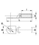 Papuc inelar neizolat din aluminiu AS120-14 120mm2, M14, (d1=15,5mm, d2=15mm)