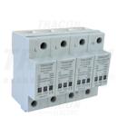 Descarcator de supratensiuni,AC/DC,clasa1+2,unitar cu soclul TTV1+2-80-3P+N/PE 230/400 V, 50 Hz, 8 kA (10/350us) 40/80 kA (8/20us), 3P+N/PE
