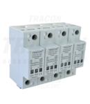 Descarcator de supratensiuni,AC/DC,clasa1+2,unitar cu soclul TTV1+2-100-4P 230/400 V, 50 Hz, 8 kA (10/350 us) 50/100 kA (8/20 us),4P
